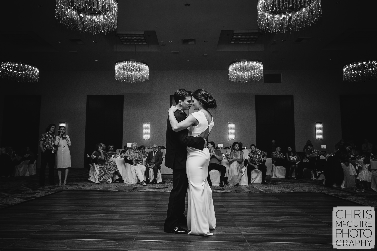first dance at Pere Marquette ballroom wedding reception