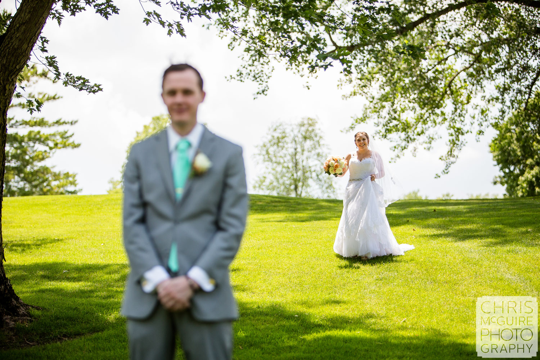 bride groom first look Bloomington IL wedding