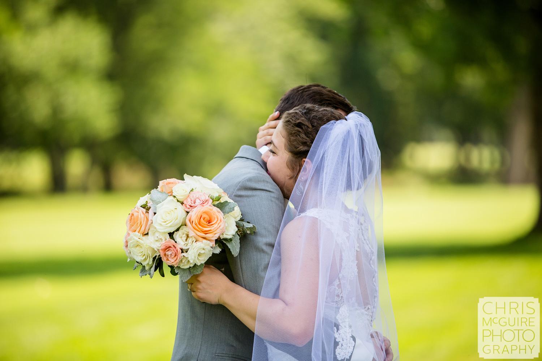 bride groom hug