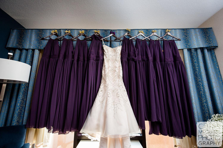 bridesmaid dresses hanging