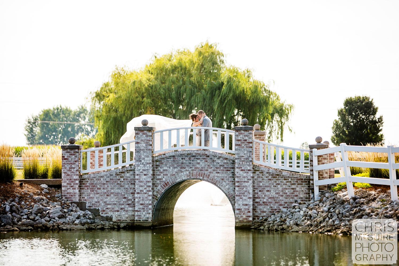 Central Illinois wedding portrait bride groom kiss as veil flys in air