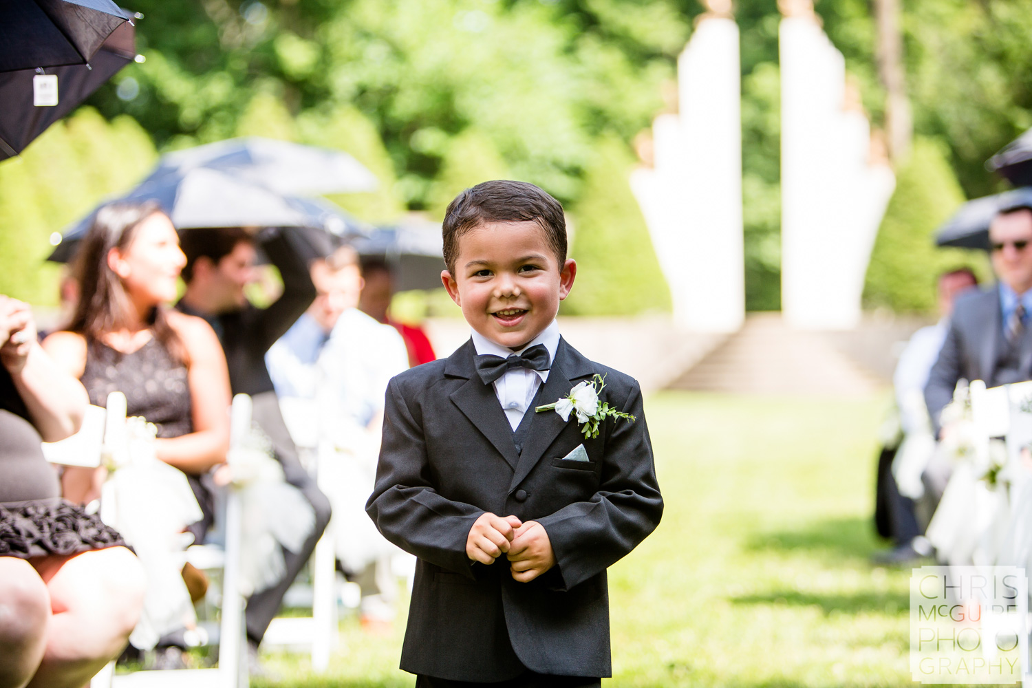 ring bearer at Sunken Garden Allerton wedding