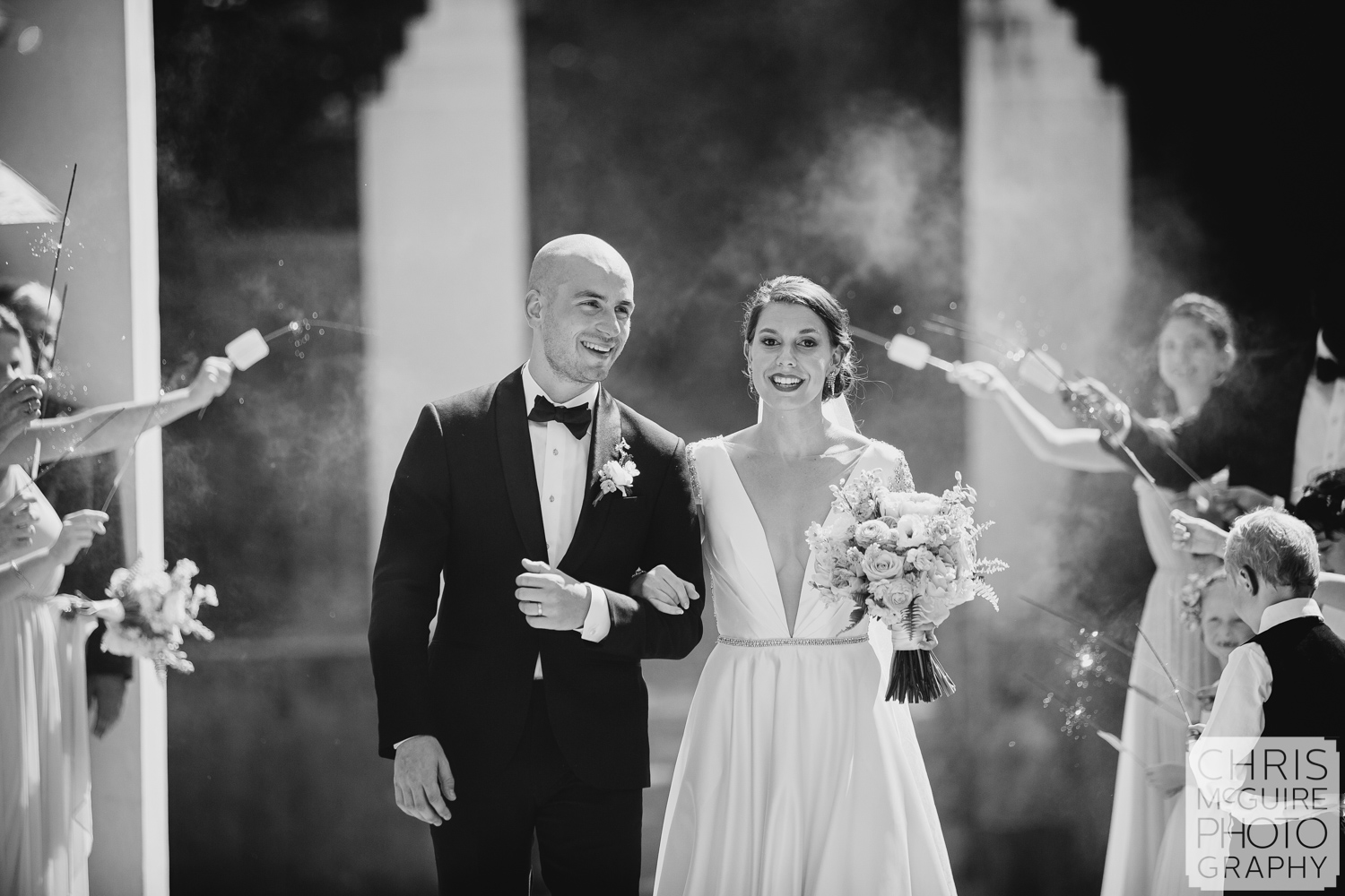 sparklers at Allerton Park wedding