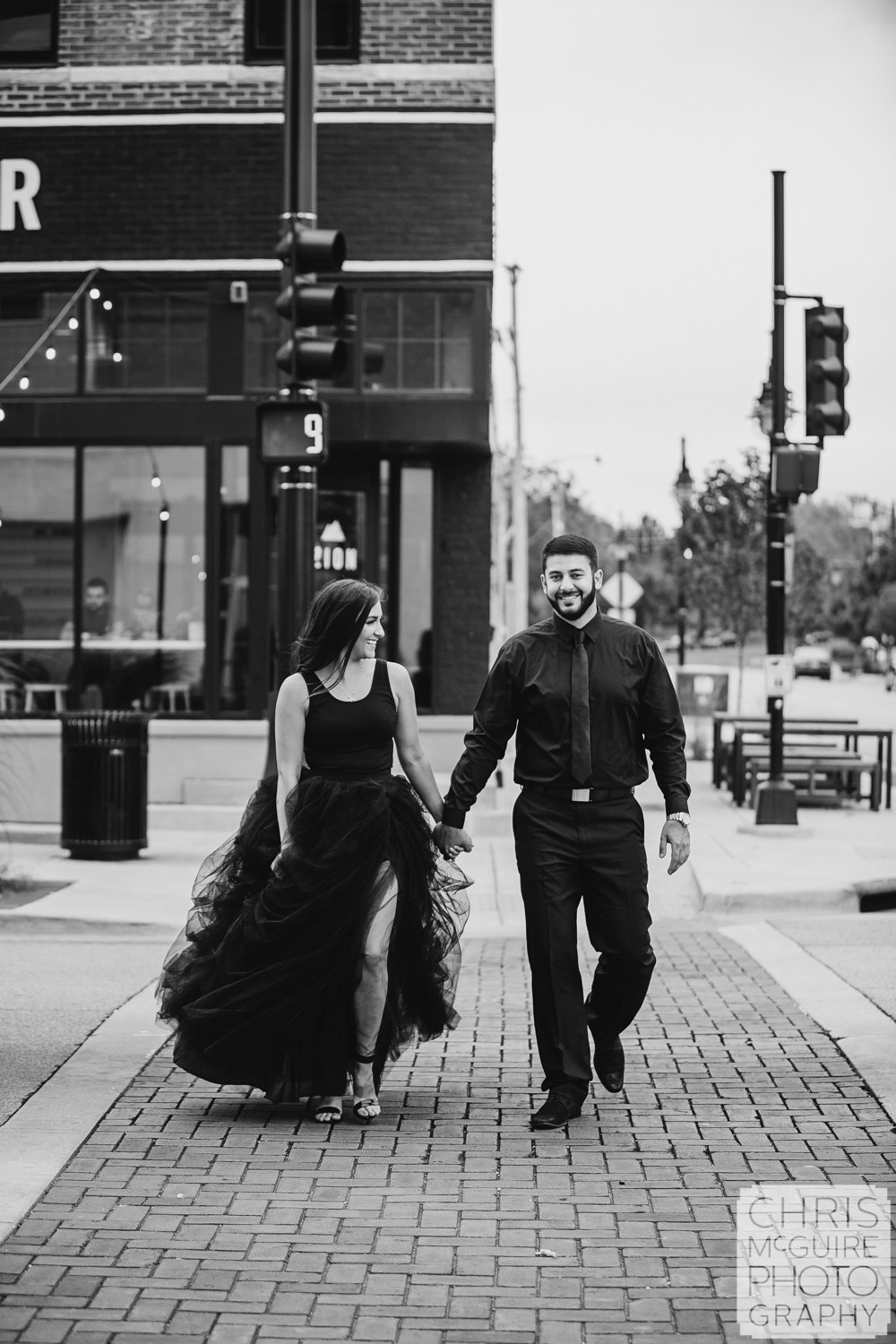 Engagement Portrait at Zion Coffee in Peoria, black tule dress