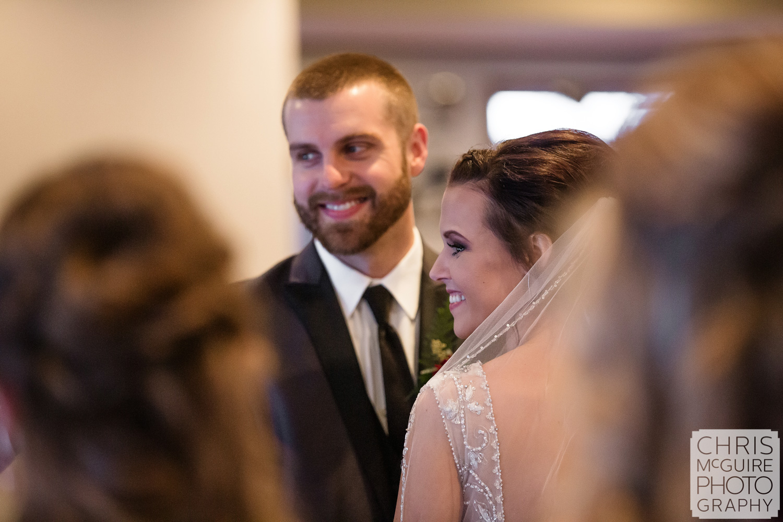 bride and groom smile at Weaver Ridge Wedding
