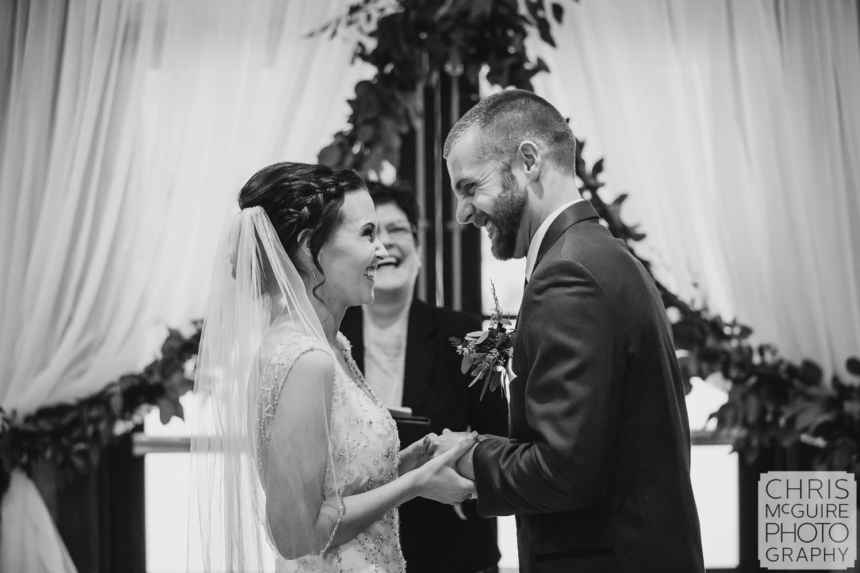Bride and Groom laugh at Weaver Ridge Winter Wedding
