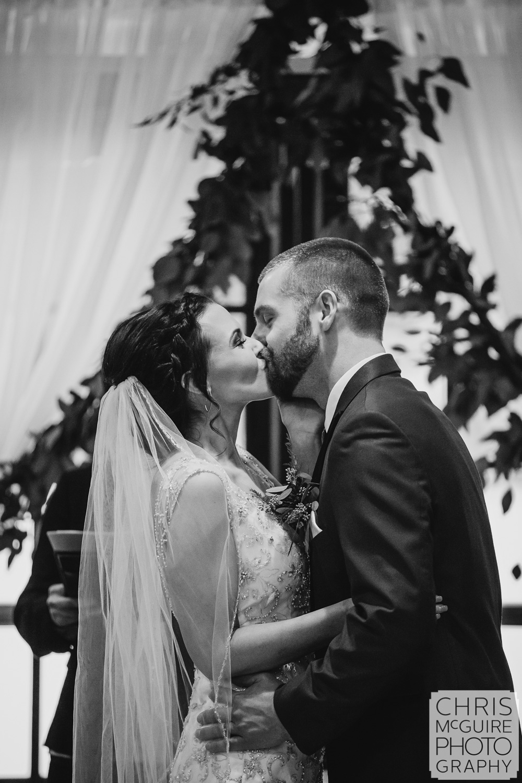 First kiss at Weaver Ridge Winter Wedding