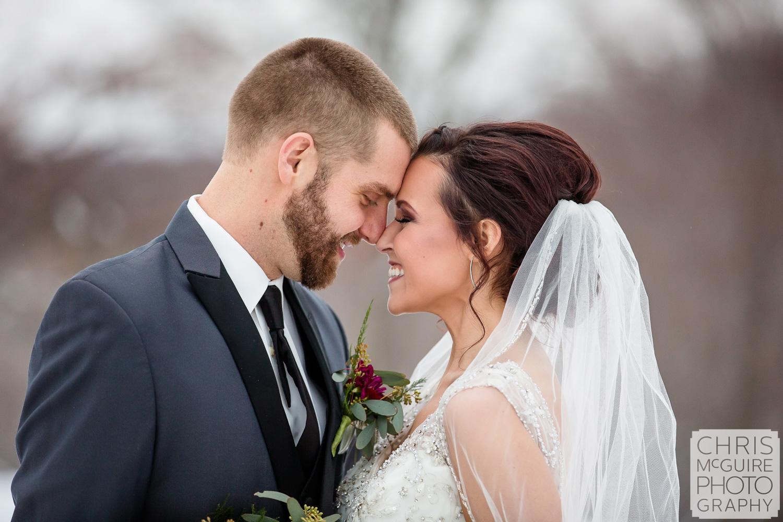 Midwest Bride Groom portrait in snow