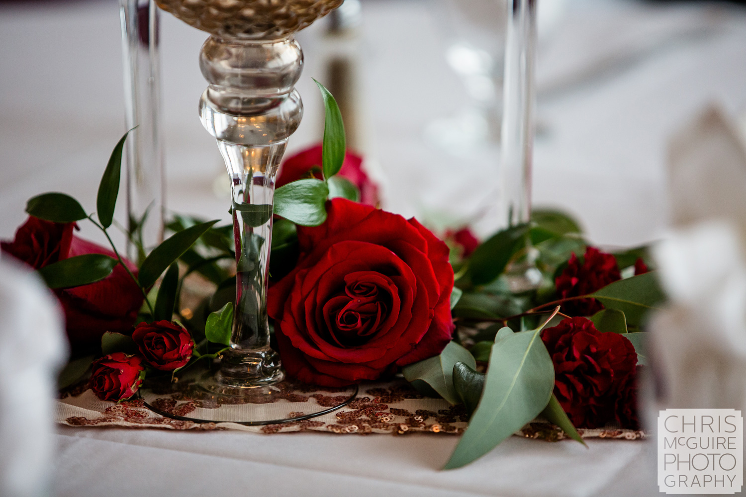 Rose on wedding reception table