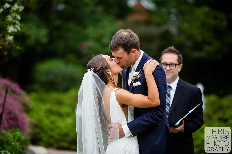 First Kiss at Luthy Botanical Garden Wedding