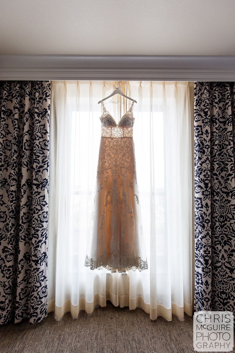 Wedding dress hanging at Abe Lincoln Hotel in Springfield IL