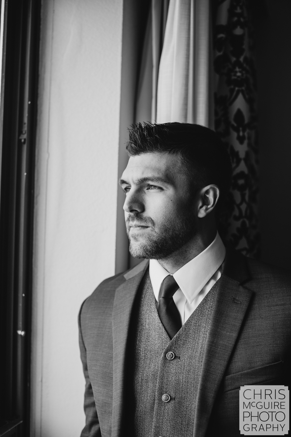 Groom portrait at Abe Lincoln Hotel in Springfield