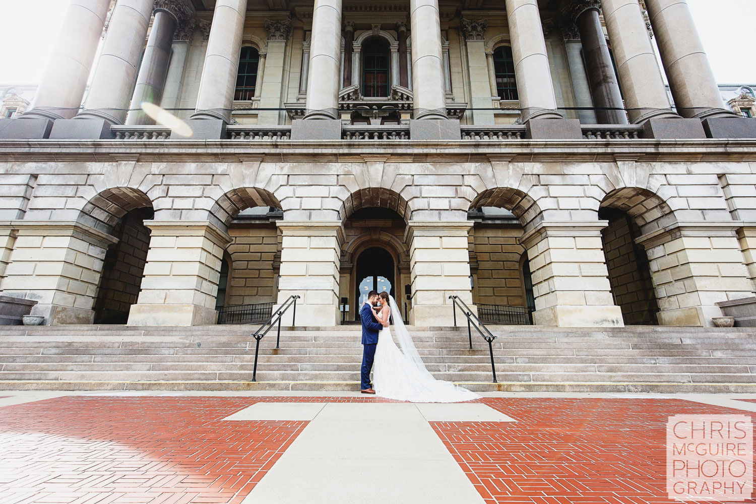 Bride and groom at Illinois State Capitol in Springfield