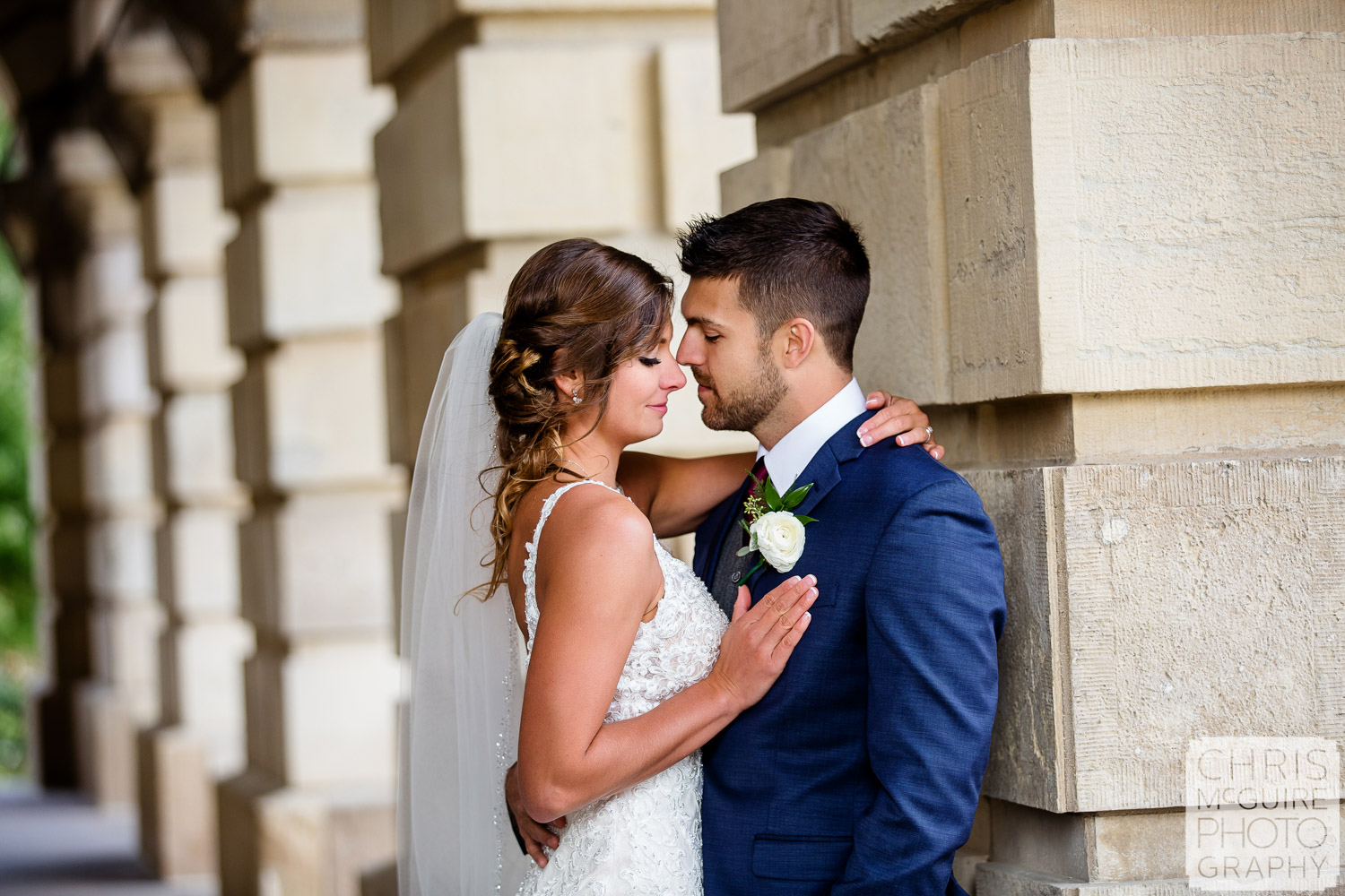 Romantic portrait of bride and groom at Midwest wedding