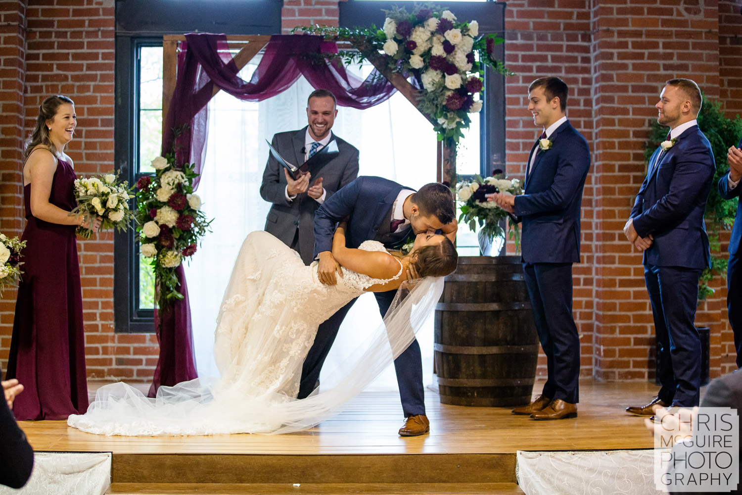 First Kiss at Illinois State Fairgrounds Wedding