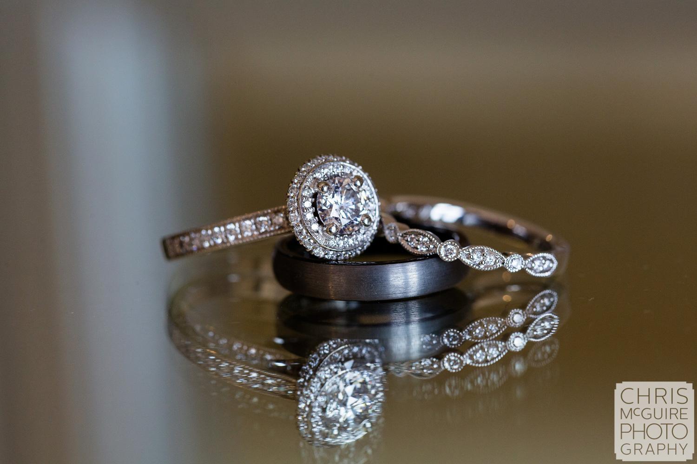 Wedding Rings on glass