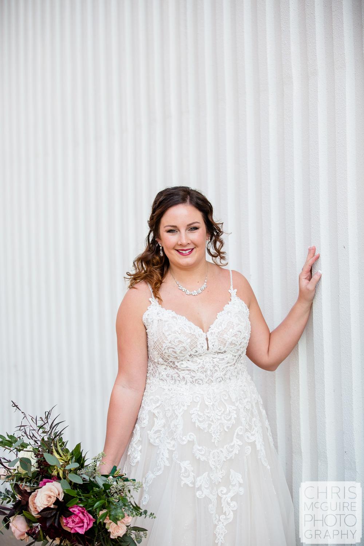 Peoria Illinois Bride with White Wall