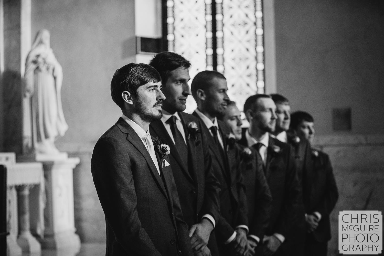 Groom awaits his bride at Peoria Sacred Heart