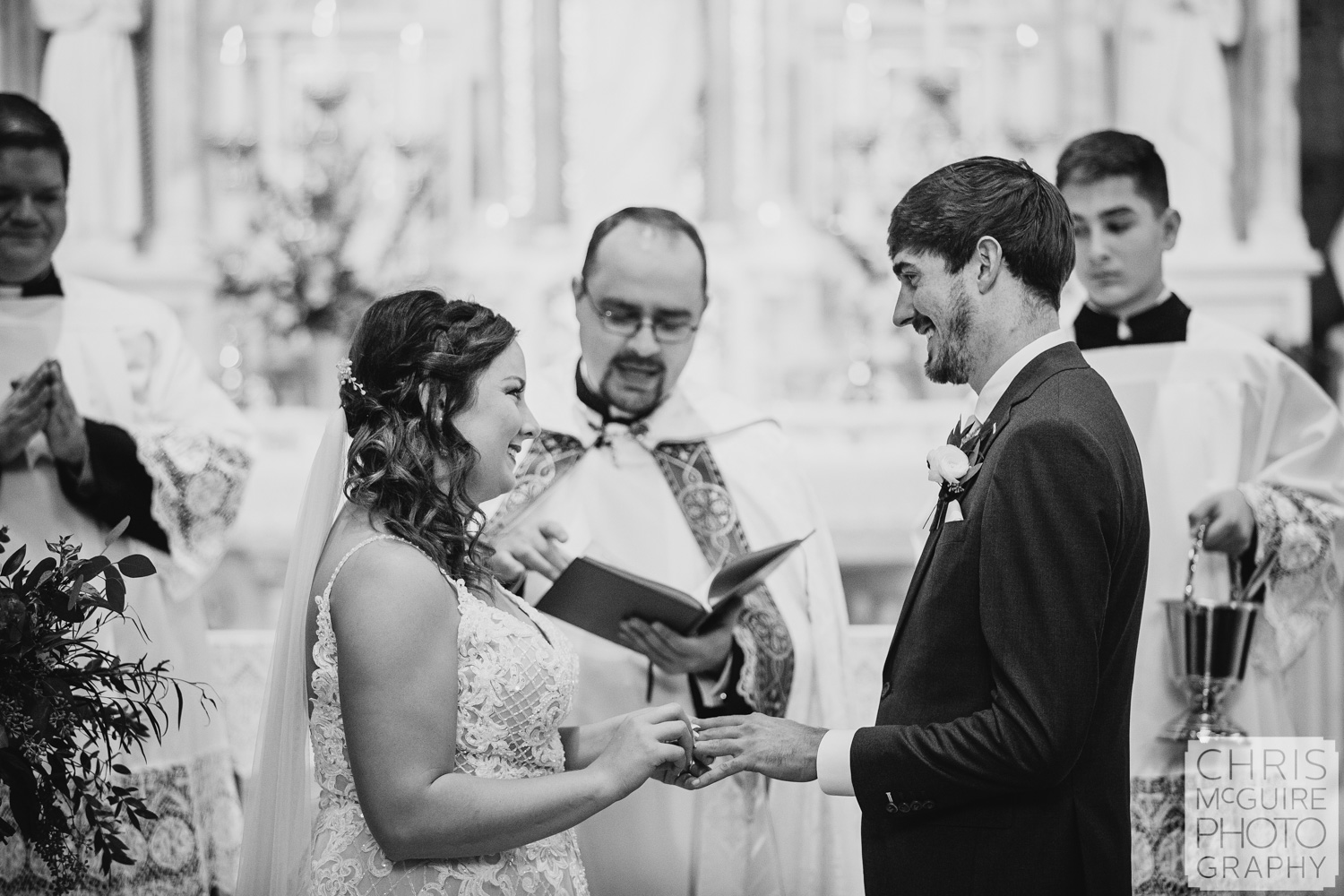 Wedding vows at Peoria Sacred Heart