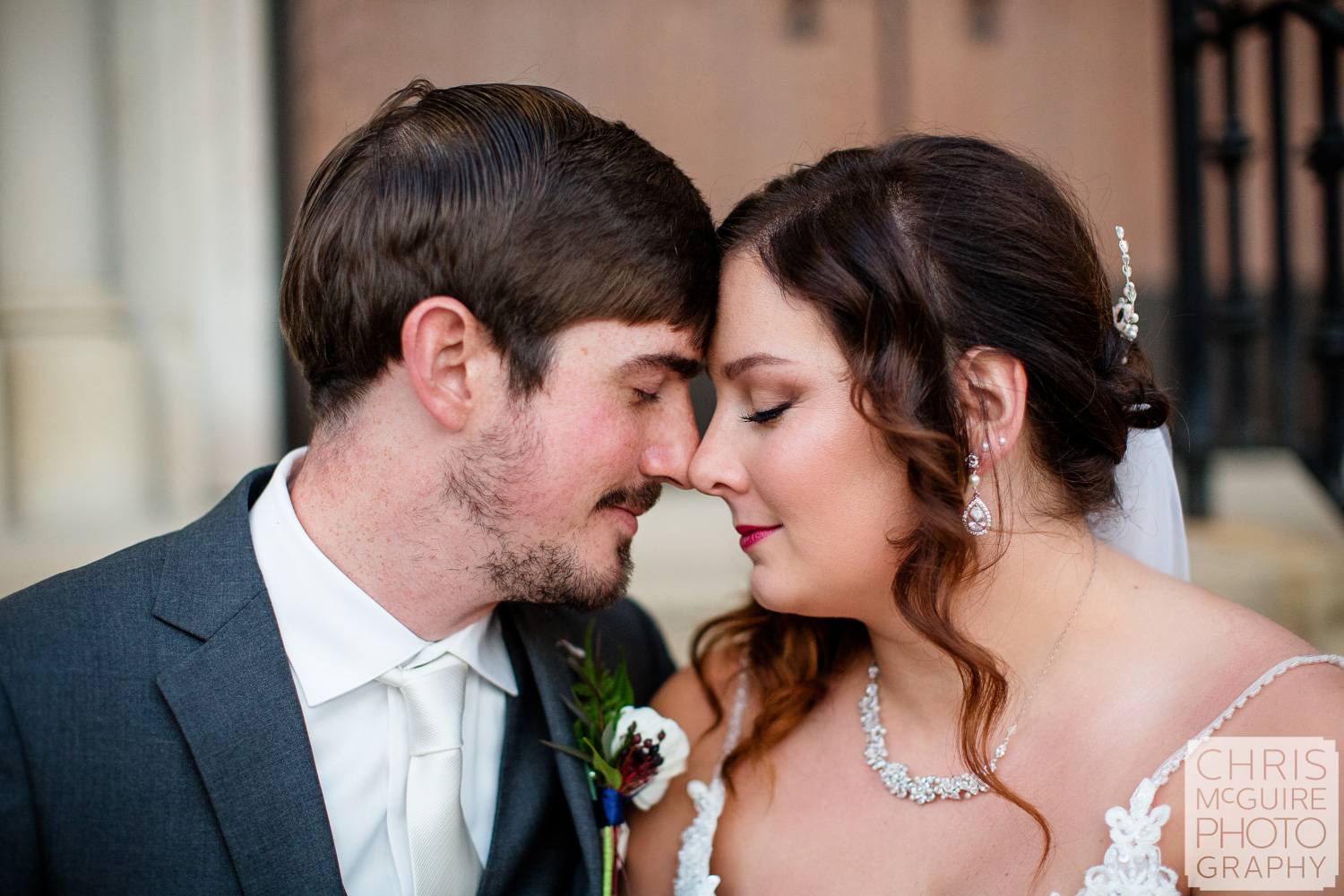 Intimate portrait of bride and groom in Peoria IL