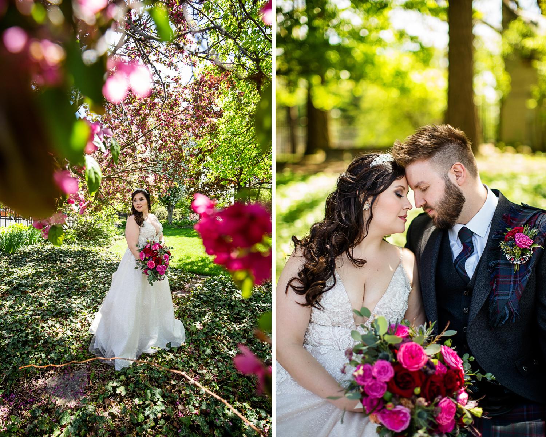 Bride and Scottish Groom in Garden