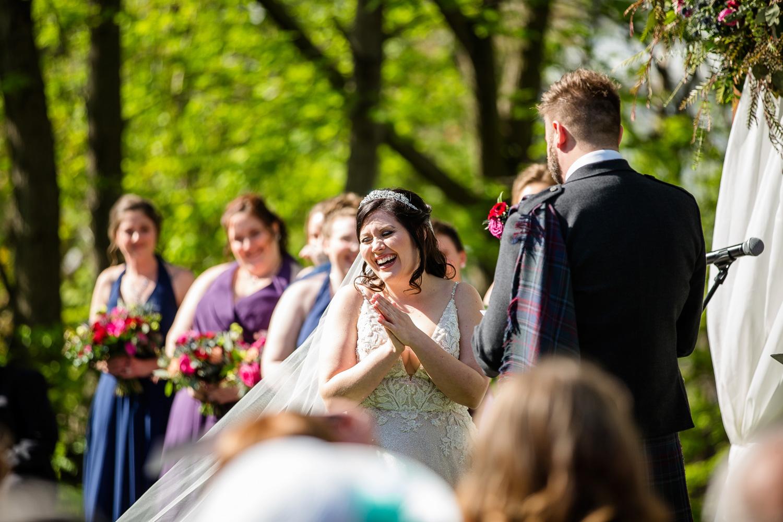 Bride laughing at Peoria Wedding