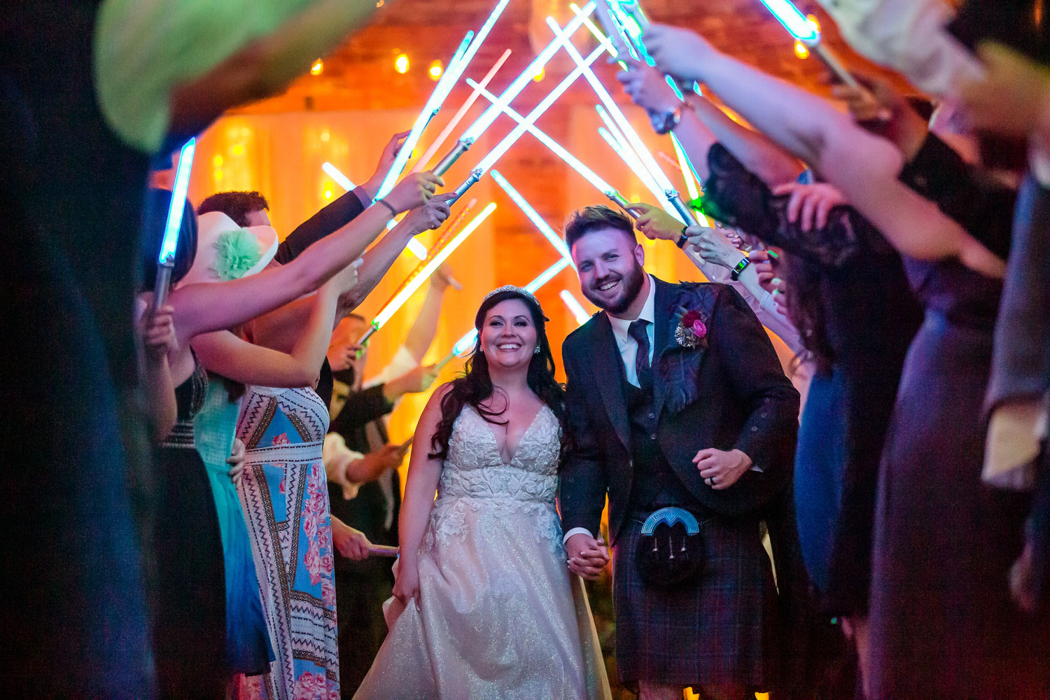 Wedding Exit with Light Sabers Star Wars Theme