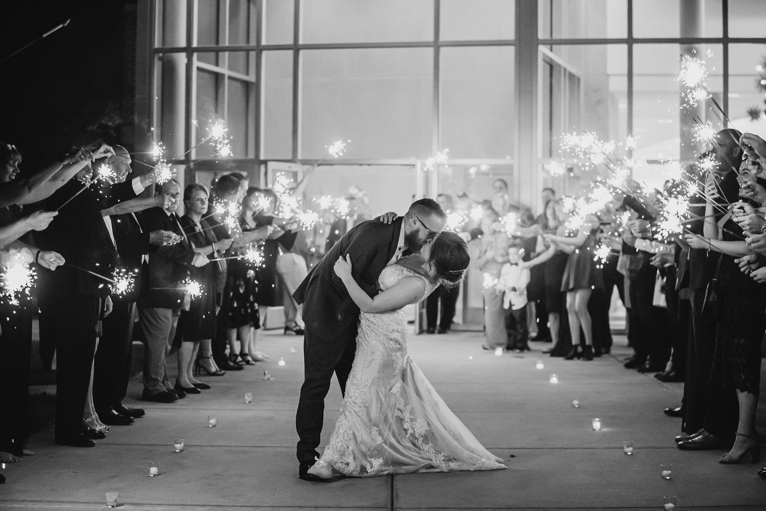 Sparkler Exit at iHotel Wedding in Champaign Illinois, Chris McGuire Photography