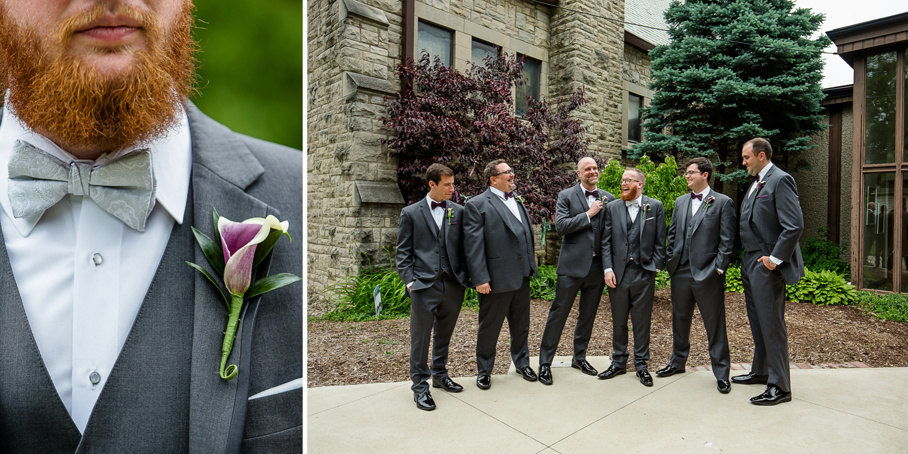 Groom and groomsmen before wedding