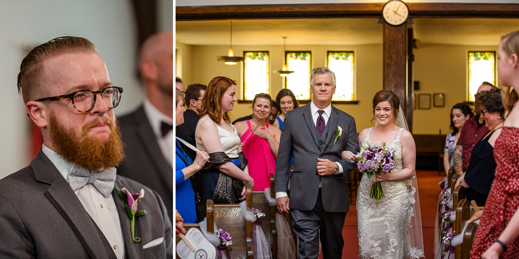Groom sees bride as she walks down aisle with father