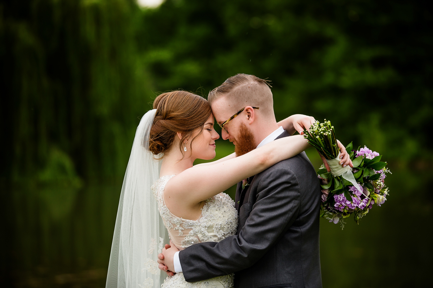 Bride and groom at University of Illinois Arboretum