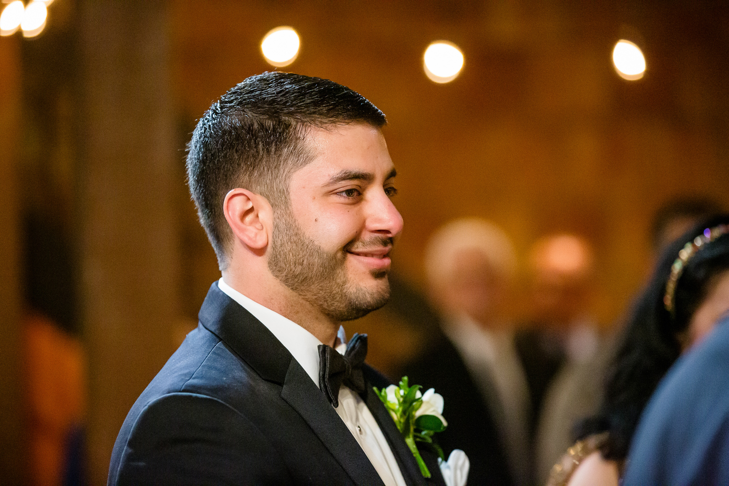 Grooms sees bride for first time at wedding ceremony