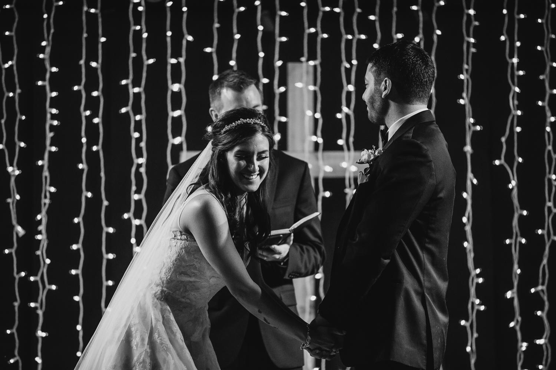 Bride laughs at Peoria Wedding