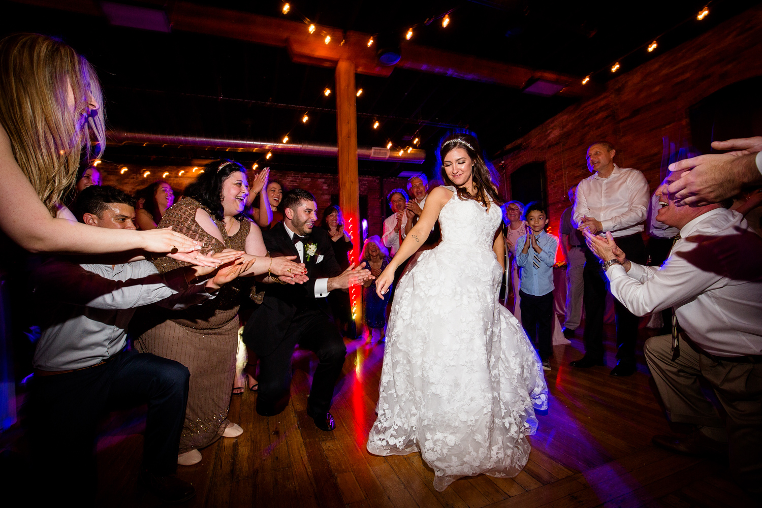 Bride and groom dancing Wedding Reception fun at Trailside Event Center Wedding in Peoria Illinois