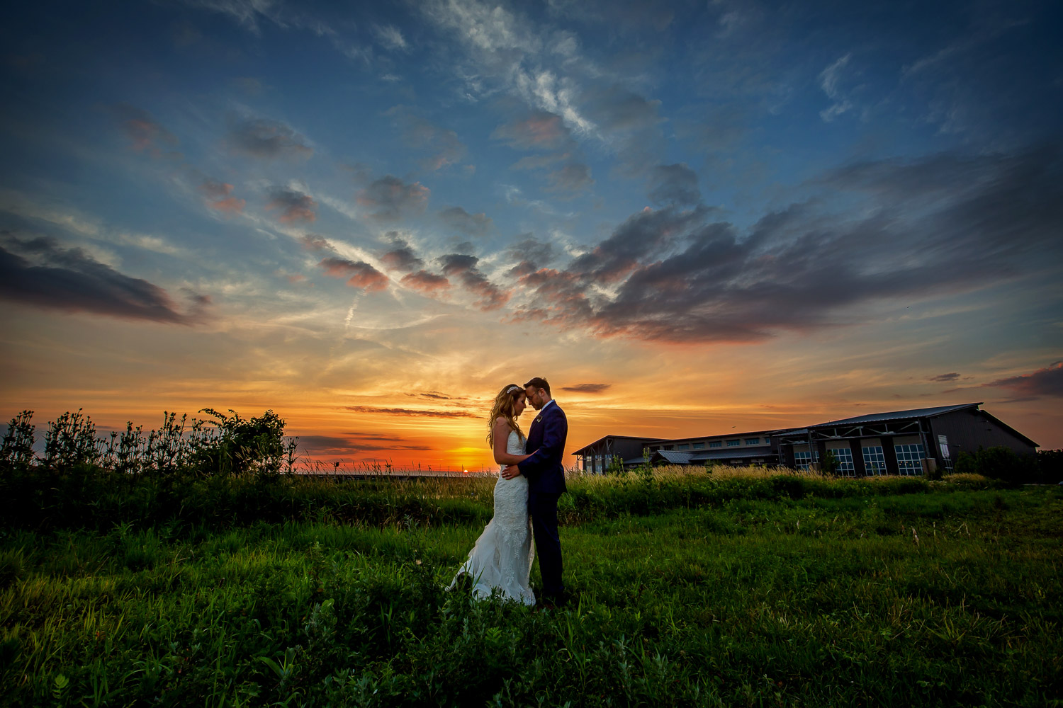 Destihl Brewery Wedding, Bride and Groom at Sunset, Normal, Illinois, Chris McGuire Photography