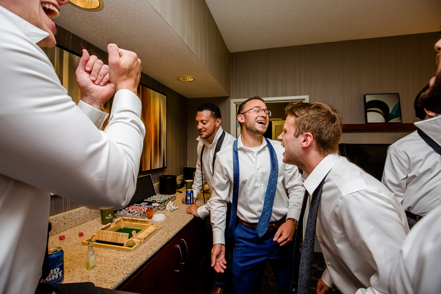 Groom playing shut the box