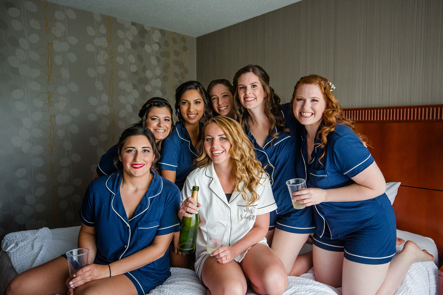 Bridesmaids with champaign