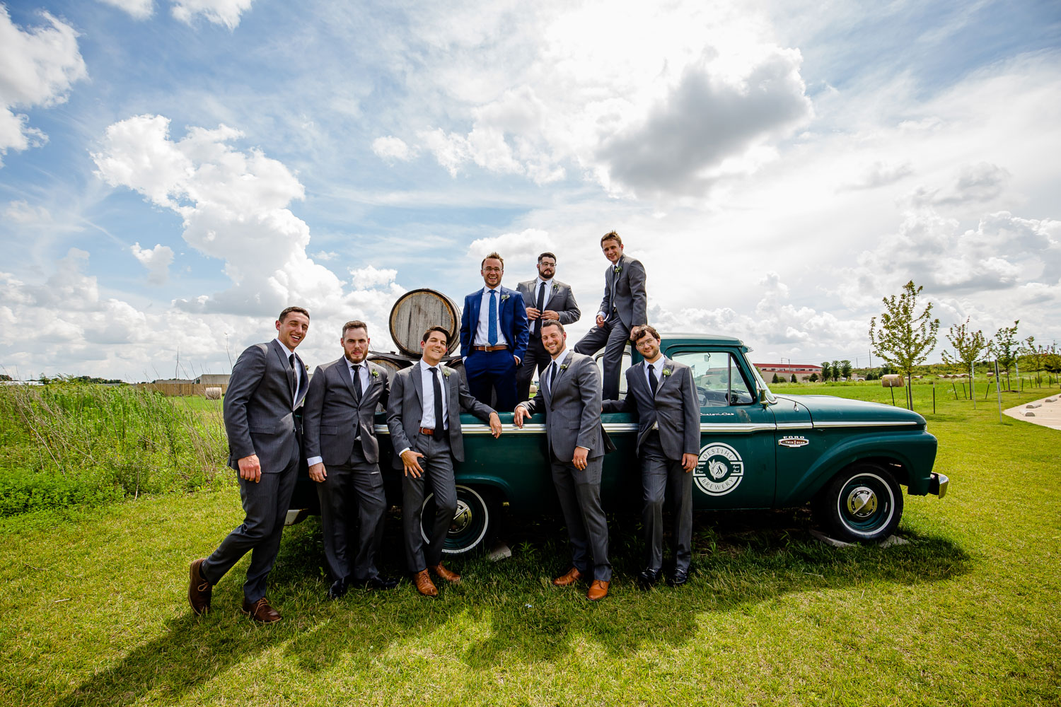 Destihl Brewery Wedding Groomsmen on truck