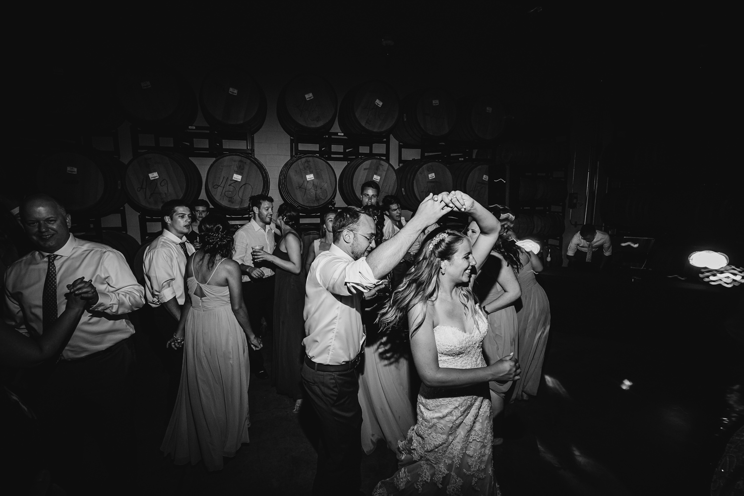 Bride and groom dance at Normal Illinois wedding