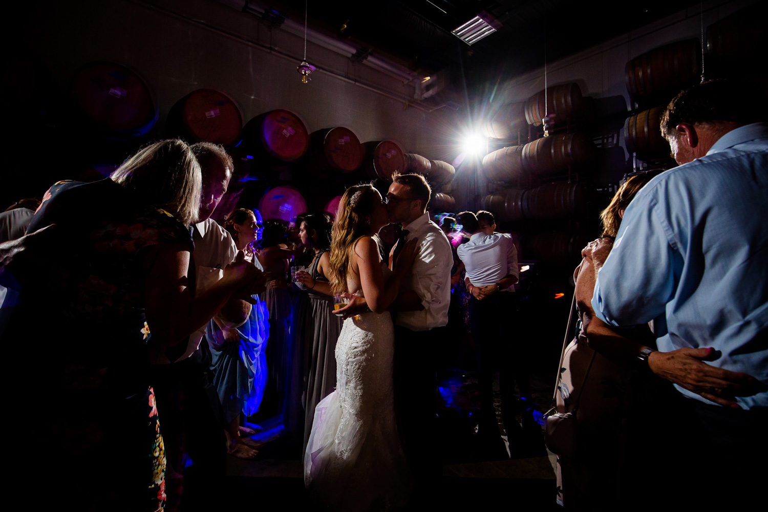 Destihl Brewery Wedding Dancefloor Kiss