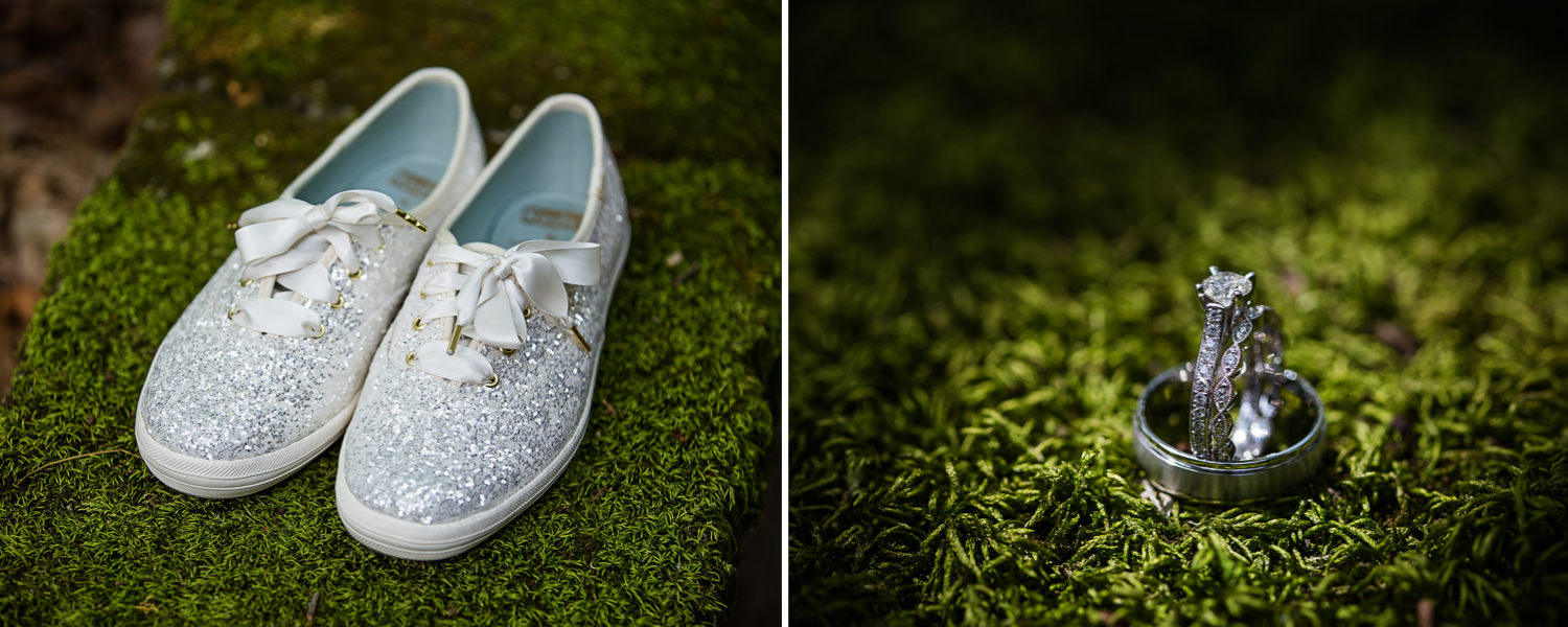 Sparkly Wedding Shoes and rings on green moss