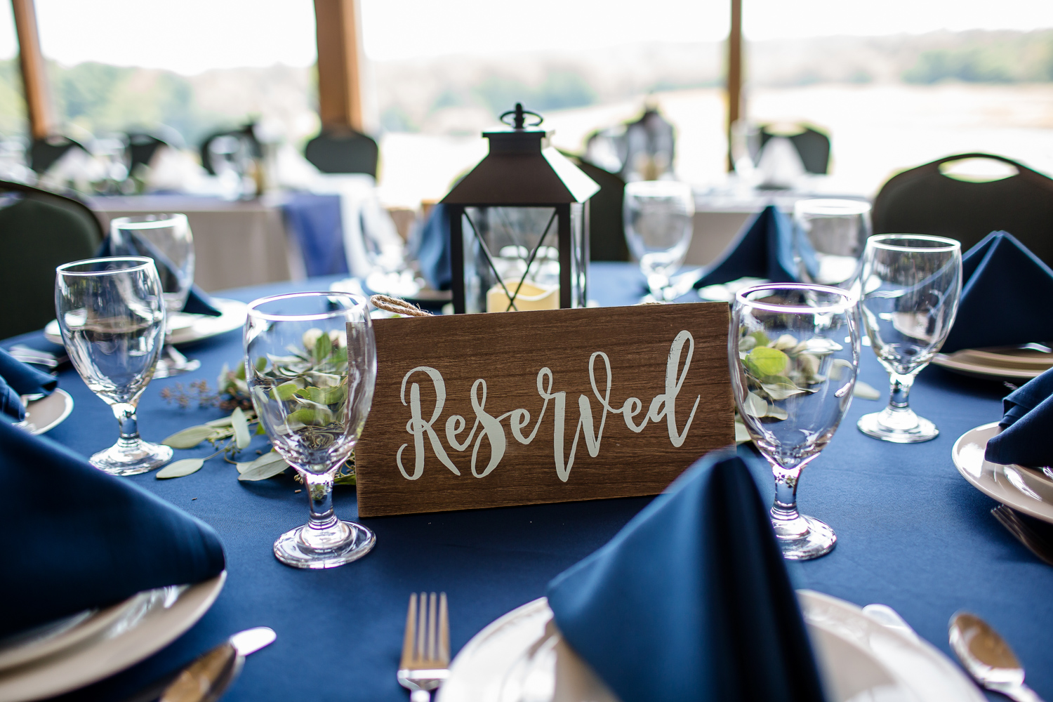 Reserved Sign on Wedding Reception Table