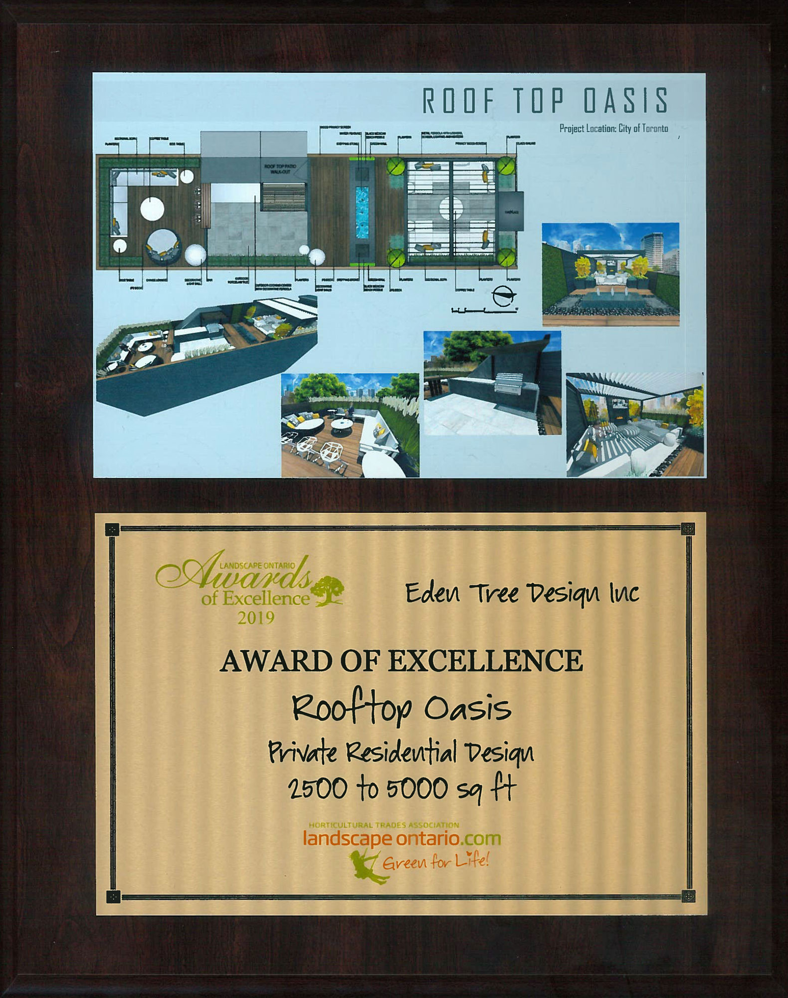 Landscape Ontario Award of Excellence 2019Private Residential Design 2500 to 5000 sq. ft. - (see Roof Top Oasis)