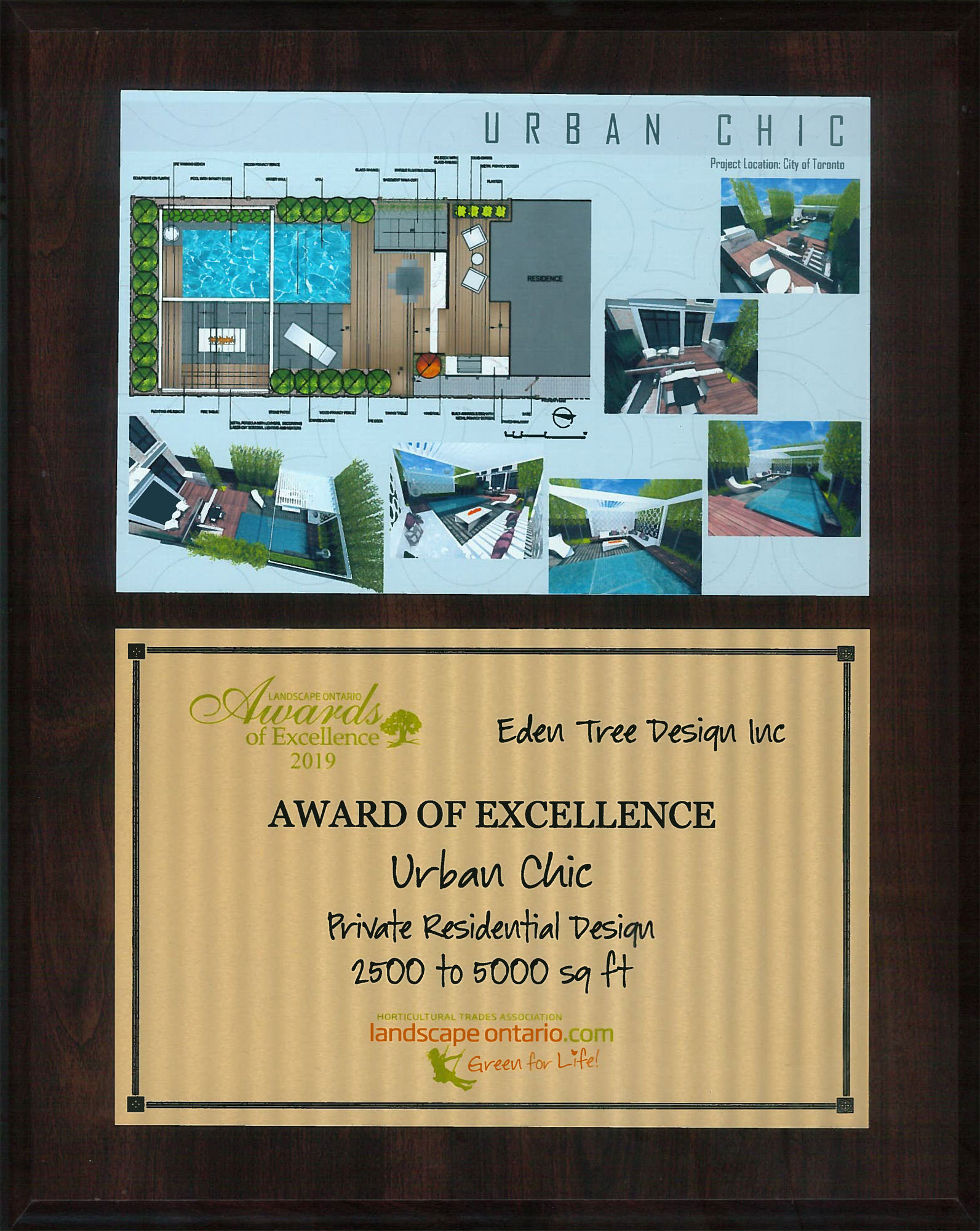 Landscape Ontario Award of Excellence 2019Private Residential Design 2500 to 5000 sq. ft. - (see Urban Chic)
