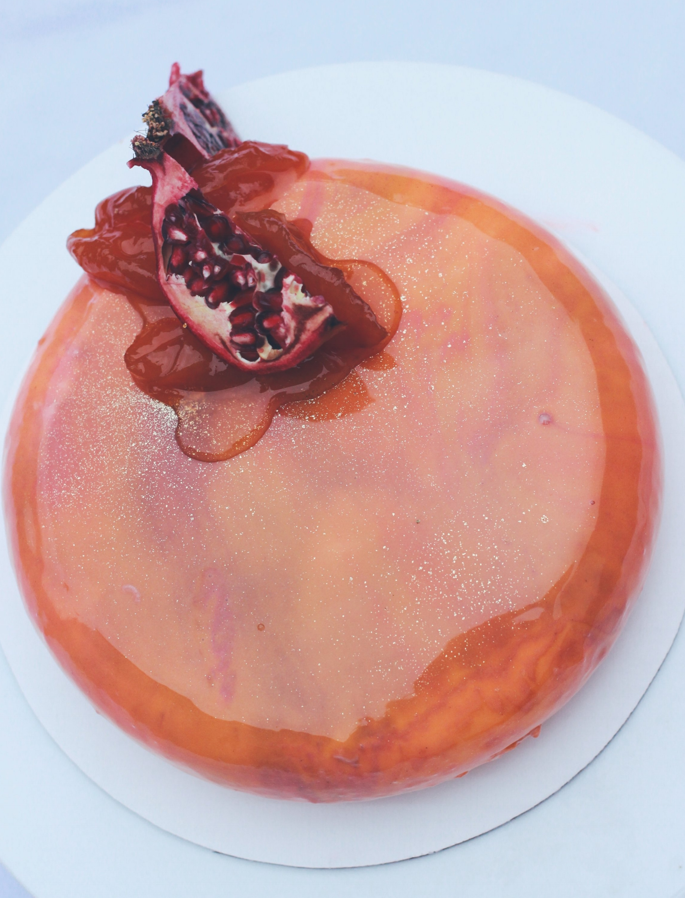 Pomegranate and Peach Entremet with a hint of Roses