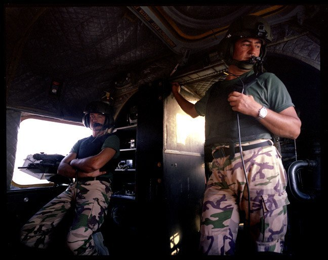 Italian helicopter patrol of archaeological sites in southern Iraq. June, 2004.