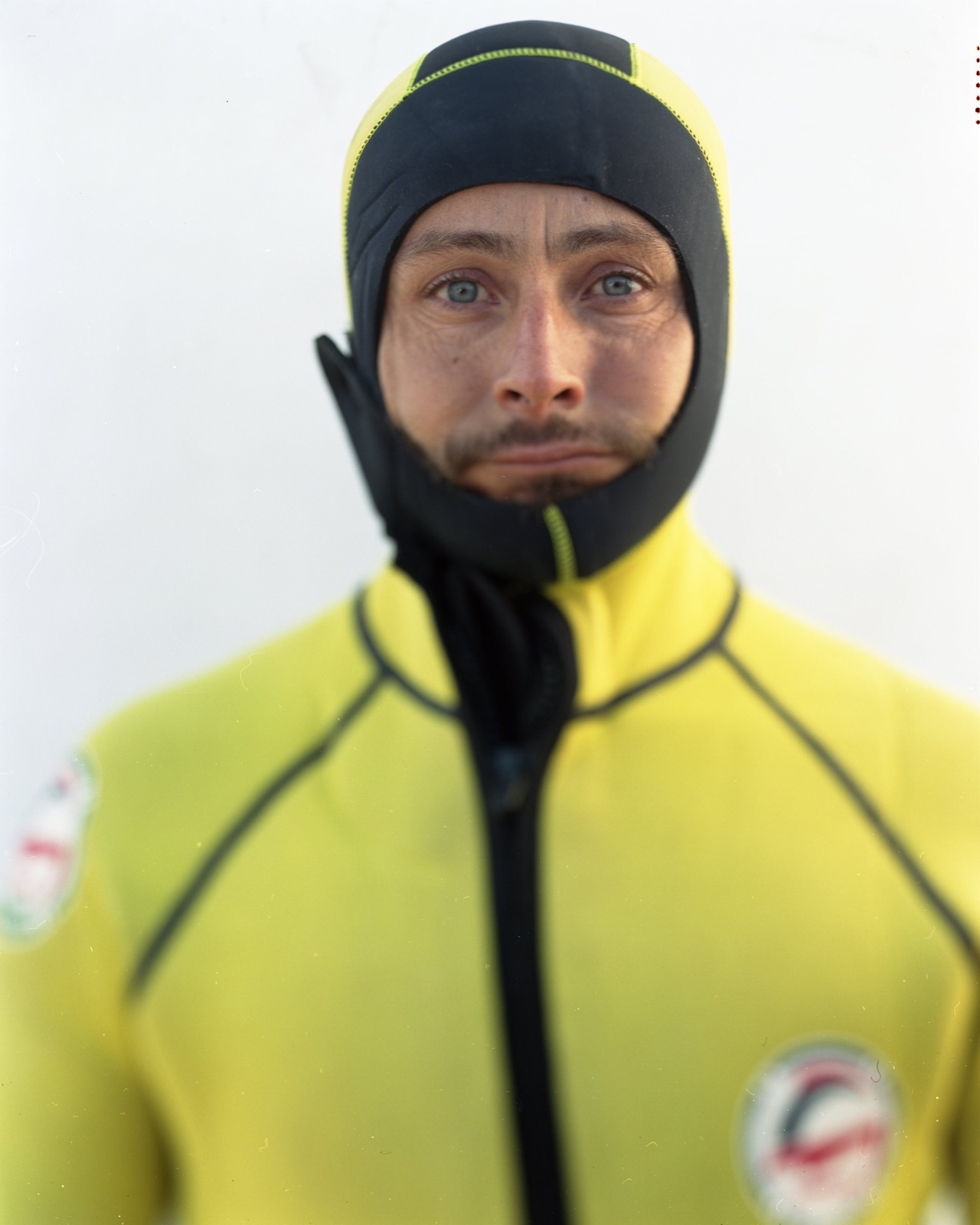 Eugenio Mantero Bueno, firefighter from Seville, Spain, in a wet suit. He was one of many volunteers helping refugees as they landed on Lesbos.