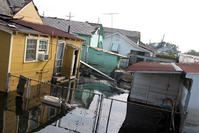 Flooded neighborhood in New Orleans.