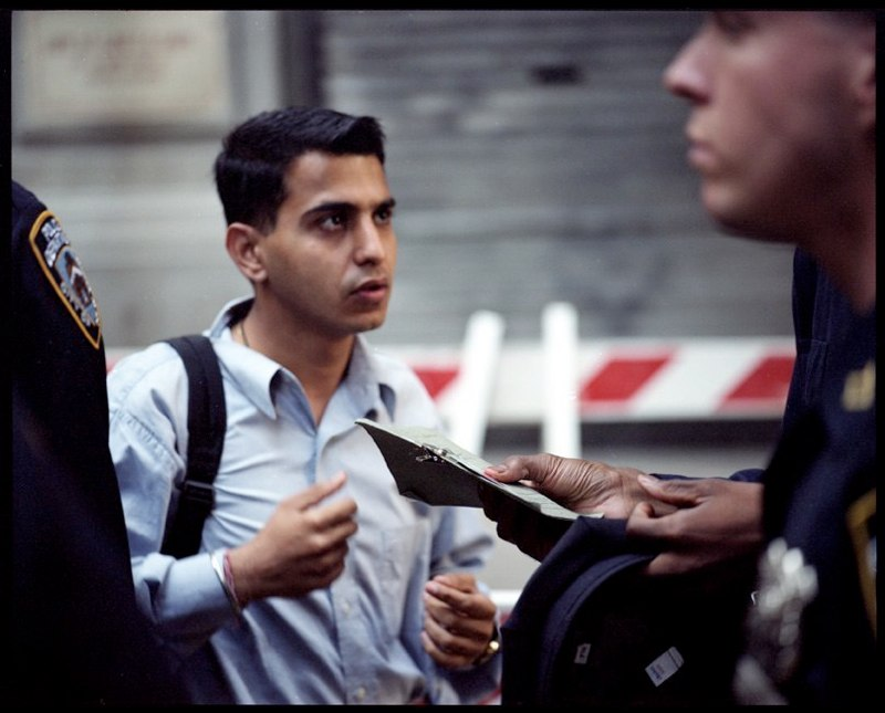 Police check ID's on Wall Street in lower Manhattan when it reopened on Monday September 17, 2001 after the attacks on the World Trade Center on September 11, 2001.