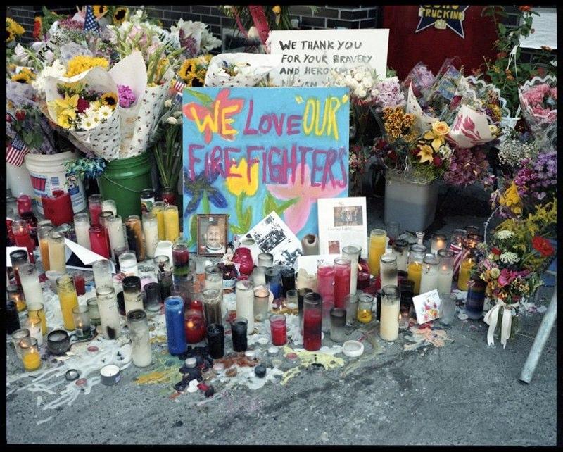 Makeshift memorial outside firehouse in lower Manhattan, September 17, 2001.